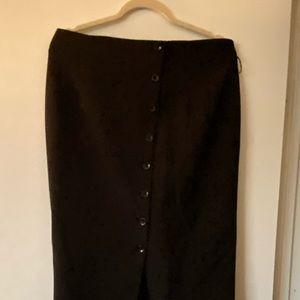 Black pencil button down skirt